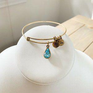 Alex and Ani Bracelet Gold Living Water Aqua Blue